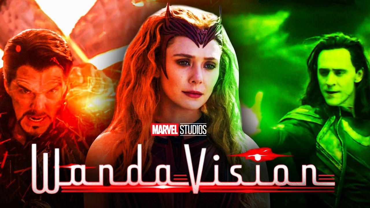 WandaVision logo, Wanda Maximoff, Doctor Strange, Loki