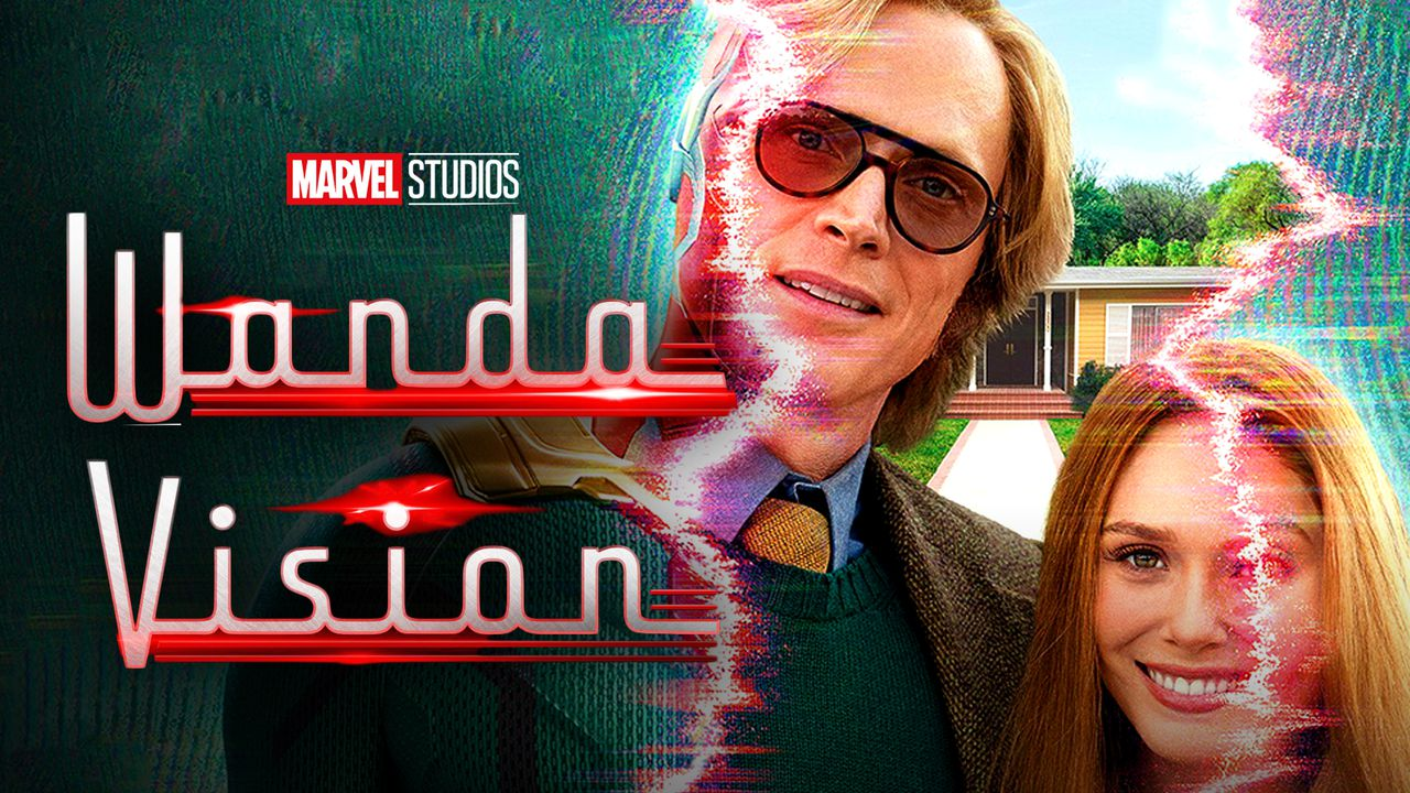 WandaVision logo, Paul Bettany as Vision, Elizabeth Olsen as Wanda