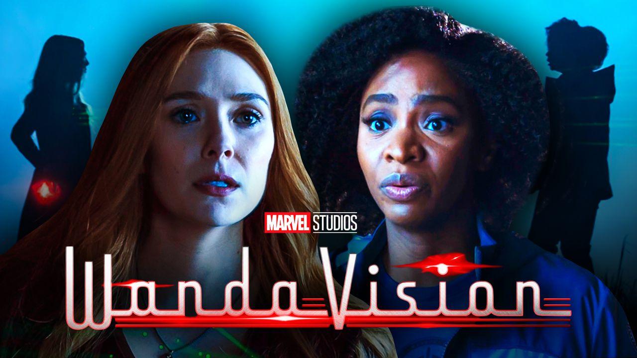 Teyonah Parris as Monica Rambeau, WandaVision logo, Elizabeth Olsen as Wanda Maximoff