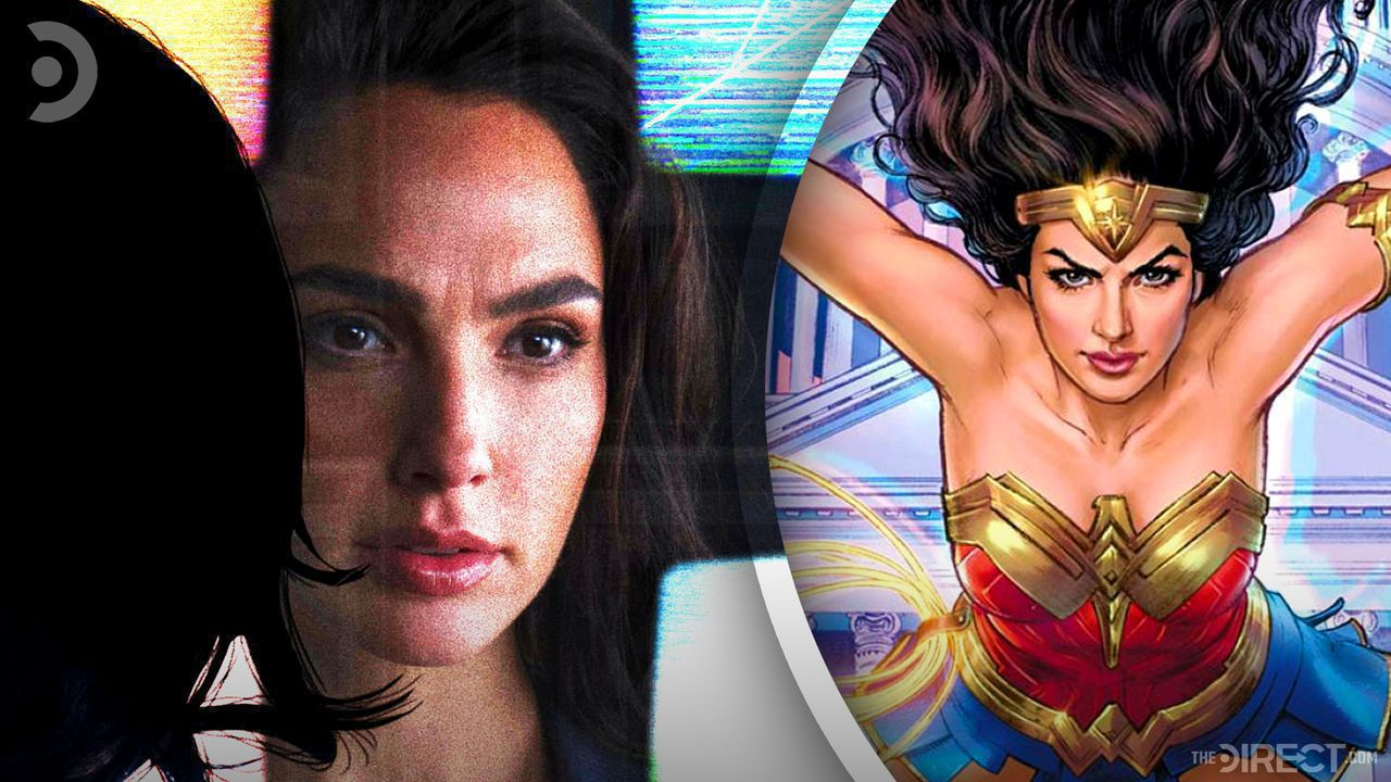 Princes Diana out of costume on left and tie-in comic illustration of Wonder Woman on right.