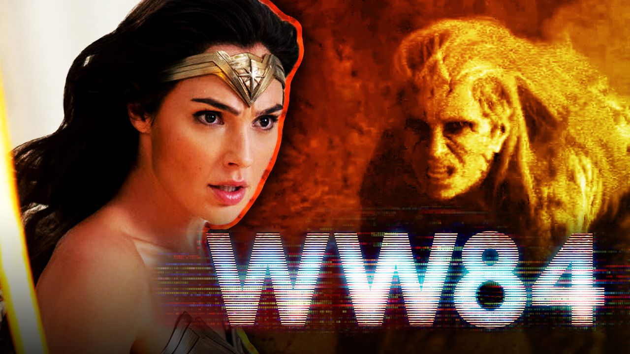 Wonder Woman on left, Cheetah on right, WW84 logo in foreground