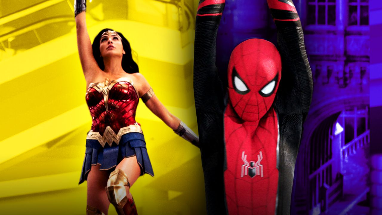 Wonder Woman, Spider-Man swinging