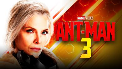 Michelle Pfeiffer with Ant-Man 3 logo
