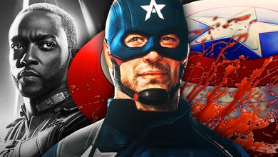 Falcon, US Agent, Captain America Shield with Blood