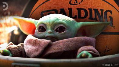 Baby Yoda with NBA Basketball behind him