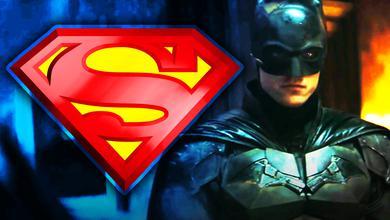 Superman logo, Robert Pattinson as Batman in The Batman