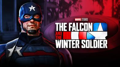 Wyatt Russell's U.S. Agent concept art, The Falcon and the Winter Soldier logo