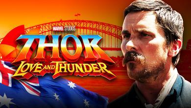 Thor Love and Thunder logo, Sydney Harbour Bridge, Australian flag, Christian Bale