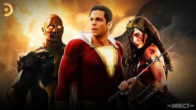 Dwayne Johnson as Black Adam, Zachary Levi as Shazam, Gal Gadot as Wonder Woman