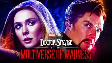 Elizabeth Olsen as Wanda Maximoff, Benedict Cumberbatch as Doctor Strange, Multiverse of Madness pic