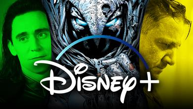 Disney+ logo, Tom Hiddleston as Loki, Jeremy Renner as Hawkeye, Moon Knight