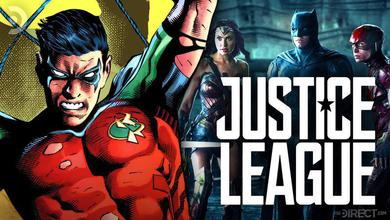Dick Grayson as Robin, with Batman, Wonder Woman, and the Flash in Justice League