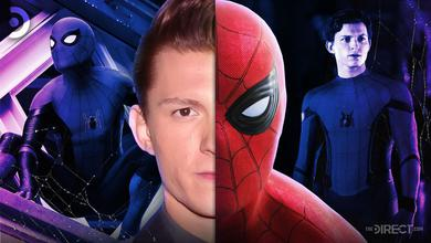 Spider-Man on left, unmasked on right, in middle half of Tom Holland's face with Spider-Man