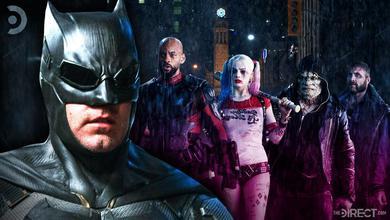 Close up of Ben Affleck as Batman, Will Smith as Deadshot, Margot Robbie as Harley Quinn, Killer Cro