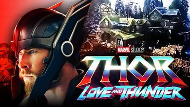 Chris Hemsworth as Thor, Thor: Love and Thunder logo, Mjolnir Tours concept art