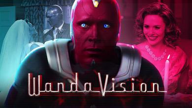 WandaVision logo, Paul Bettany as Vision, Elizabeth Olsen as Wanda