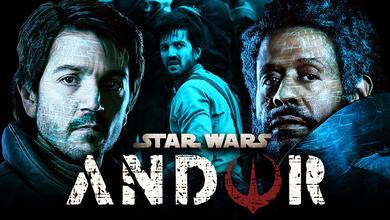 Andor logo, Forrest Whitaker as Saw Guerrera, Diego Luna as Cassian Andor