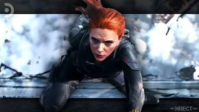 Scarlett Johansson as Black Widow, with rubble and wreckage behind her