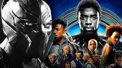 T'Challa on left and Black Panther cast on right