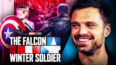 Captain America and Bucky, The Falcon and the Winter Soldier logo, Sebastian Stan