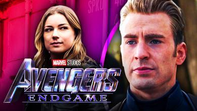 Emily VanCamp as Sharon Carter, Avengers: Endgame logo, Chris Evans as Captain America