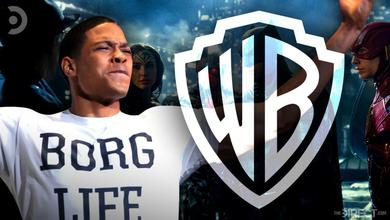 Ray Fisher as Cyborg, Warner Bros. logo, Justice League