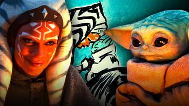 Rosario Dawson as Ahsoka, Dave Filoni sketch, Baby Yoda