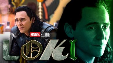 Loki's face on left, larger face of Loki with green hue on right, Loki title logo in bottom middle