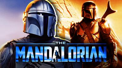 Din Djarin close up, Din Djarin, The Mandalorian logo