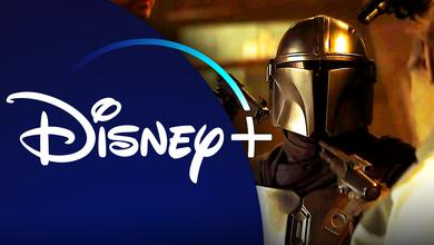 Disney+ logo, Din Djarin in The Mandalorian