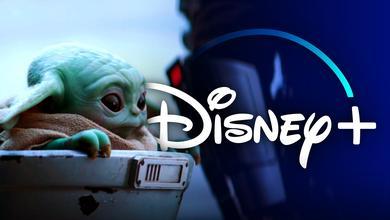 Baby Yoda from The Mandalorian, Disney+ logo