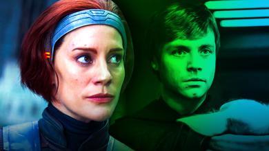 Katee Sackhoff's Bo Katan with Mark Hamill's Luke Skywalker in The Mandalorian