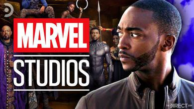 Marvel Studios logo, Black Panther cast, and Anthony Mackie