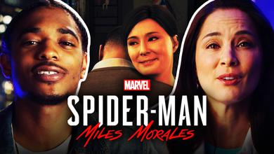 Miles Morales and Rio Morales hug, while actors Nadji Jeter and Jacqueline Pinol border the image