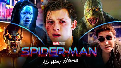 Green Goblin, Electro, Lizard, Doc-Ock, Peter Parker, Spider-Man: No Way Home logo