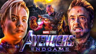 Robert Downey Jr Iron Man Brie Larson Captain Marvel Thanos