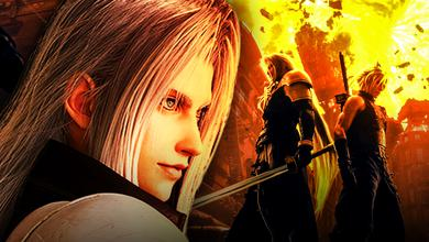 Sephiroth and Cloud Strife from Final Fantasy VII stand back to back among flames