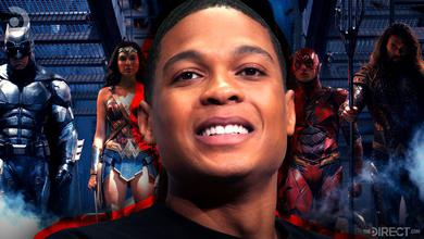 Ray Fisher in front of the Justice League cast