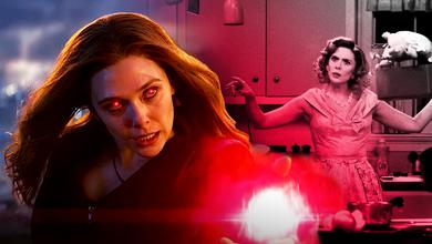 Scarlet Witch with red eyes on left and Wanda on right