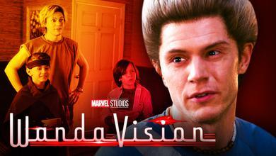 Evan Peters as Quicksilver, WandaVision logo, Jett Klyne as Tommy, Julian Hilliard as Billy
