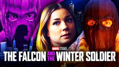 Daniel Bruhl as Zemo, Emily VanCamp as Sharon Carter, The Falcon and the Winter Soldier logo