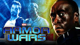Armor Wars logo, Don Cheadle War Machine}