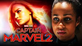 Captain Marvel 2 logo, Zawe Ashton}