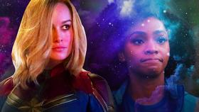 Teyonah Parris as Monica Rambeau, Brie Larson as Carol Danvers}