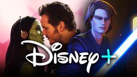 Zoe Saldana and Chris Pratt from Guardians of the Galaxy, Disney+ logo, Anakin Skywalker from TCW}