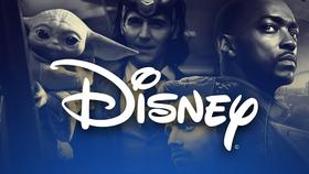 Disney logo in foreground with MCU and Star Wars characters in background}