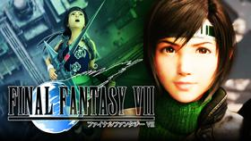 Yuffie next to the FF7 logo}