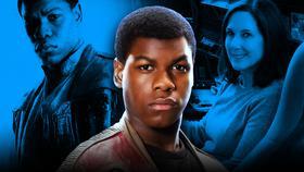 John Boyega as Finn, Kathleen Kennedy}