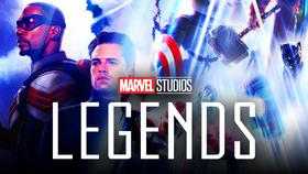 Marvel Studios: Legends logo, Anthony Mackie as Sam Wilson, Sebastian Stan as Bucky Barnes}