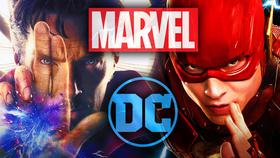 Dr. Strange and The Flash with Marvel and DC Logos}